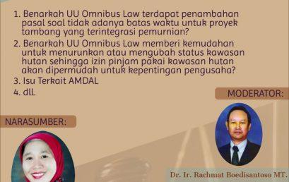 """Diskusi Publik """"Dampak Omnibus Law Terhadap Lingkungan Hidup"""""""